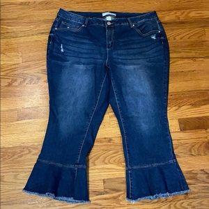 Plus Size Dark Wash Bell Bottom Jeans